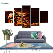 Wall Canvas Art Poster Frame Room Home Decor 5 Pieces Pictures Burning Motorcycle Race Painting Modern HD Printed Photo