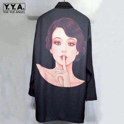 2019 Nieuwe Mens Luxe 100% Zijde Lange Shirt Dark Serie Gothic Gedrukt Echte Zijde Shirts Loose Fit Casual Single Breasted top Shirt