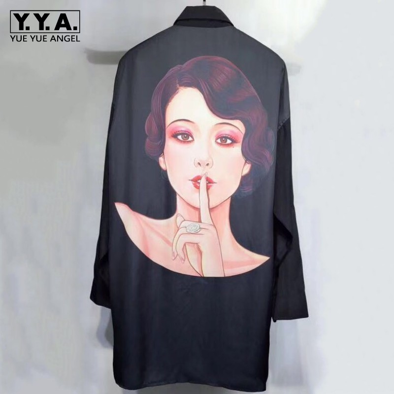 New Mens Luxury 100% Silk Long Shirt Dark Series Gothic Printed Real Silk Shirts Loose Fit Casual Single Breasted Top Shirt