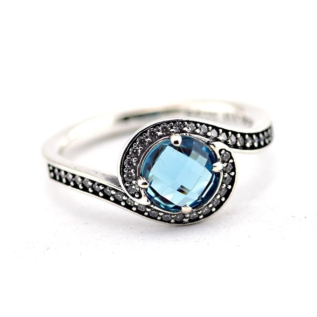 100% 925 Silver Rings for Women Radiant Embellishment Ring with Sky Blue Crystal Sterling-Silver-Jewelry Engagement Wedding Ring