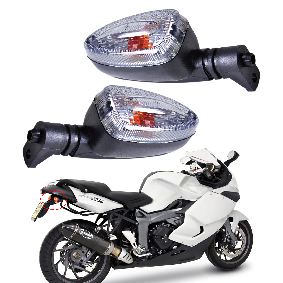 New 1Pair Motorcycle Clear Turn Signal Indicator Light font b Lamp b font Fit for BMW