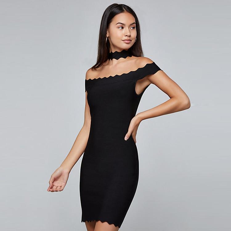 Top qualité Sexy licou noir violet femmes rayonne Bandage robe 2019 tricoté élastique moulante robe de soirée