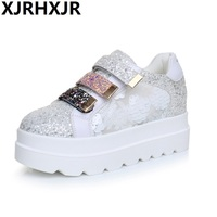 Hot Sale 6cm Autumn Style Women Shoes Hidden Wedge Heels Women S Elevator Bling Shoes Casual