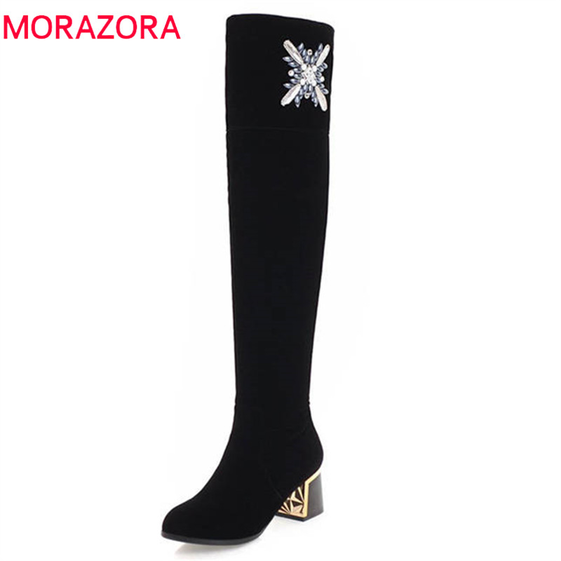 MORAZORA 2018 new fashion shoes woman thigh high over the knee boots women zipper flock autumn winter boots high heels shoes morazora new china s style knee high boots flowers embroidery spring autumn boots for women zipper cow suede med heels boots