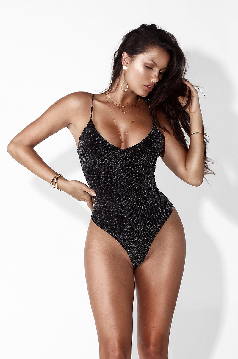 Sexy Shiny Lurex V neck Strap Bodysuit Women Party   Jumpsuit   Sleeveless Romper Thong Bodysuit Female Overall Leotard