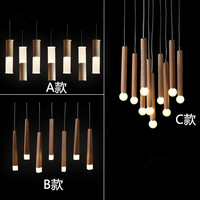 Modern led pendant lighting fixtures kitchen dining room hang lights vintage led pendant lamp wood with acrylic shade 110V 220V