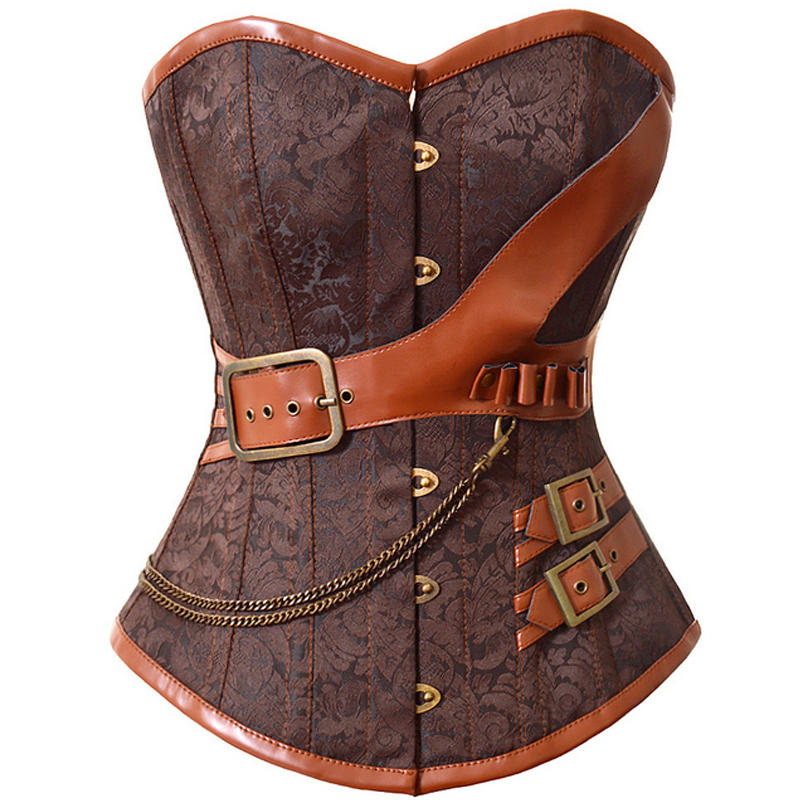 S-6XL Plus Steampunk Corset Overbust Gothic Women Brown Brocade Corsets And Bustiers Slimming Waist Trainer Bustier Corselet