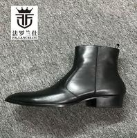 FR.LANCELOT 2019 Genuine leather Men Ankle boots European chelsea boot pointed toe zip up boots party shoes med heel mujer Shoes