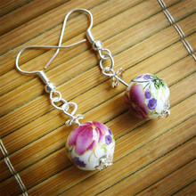 Fashion Original Vintage Silver Ceramics Beads Earrings Women Ceramic Flowers Bead Drop Earring Wedding Jewelry Gilrs Party Gift