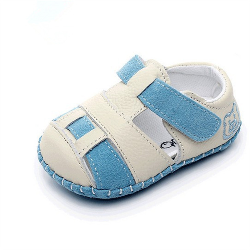 Hot sell hollow Boys&girls Genuine Leather Sandals Baby Summer Prewalker Soft sole Anti-slip casual Kids Sandals for 0-3 years