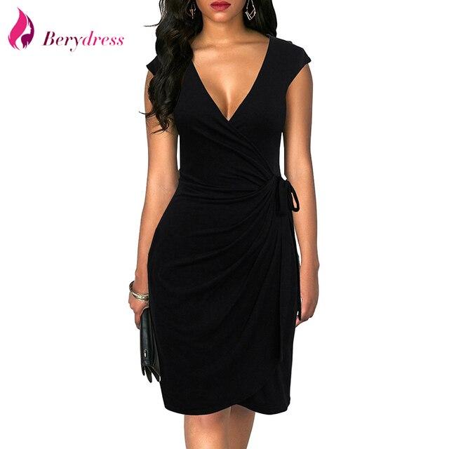 40c1ede3950 Berydress Elegant Classic Dress Polka Dots Draped Women Dresses Cocktail  Party Midi Black Summer Bodycon Faux Wrap Vestidos 2018