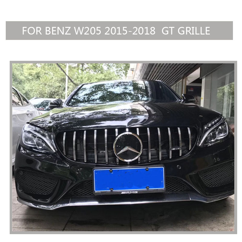 w205 Grille black Emblem Front Bumper mesh Radiator  Grill  For  benz w205 c-class 2015~2018 Car 02