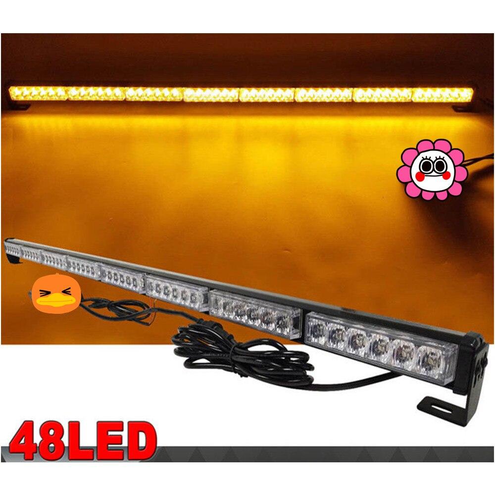CYAN SOIL BAY 48 LED 47 Amber Flash Traffic Advisor Safety Emergency Warning Strobe Light Bar
