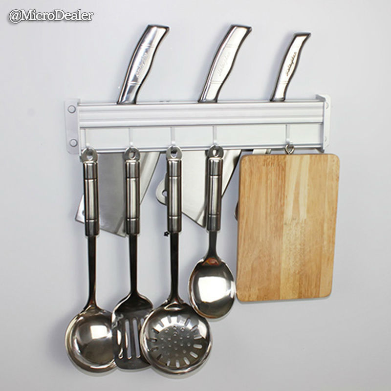 50cm Matte Aluminum Wall Mounted Kitchen Organizer Hanger Utensil Storage  Rack Knife Holder 5 Removable Hooks ...