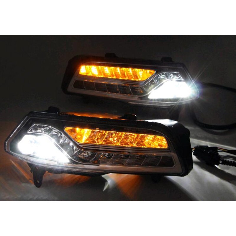 Auto accessory LED DRL Daytime Running Lights Daylight Fog light +Yellow Turn signal LED fog lamp for Volkswagen VW Polo 2014-15 auto led car bumper grille drl daytime running light driving fog lamp source bulb for vw volkswagen golf mk4 1997 2006 2pcs