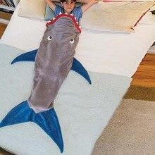 Brand Winter Soft Fleece Shark Mermaid Tail Blanket Children Sleeping Sack Blanket Kids Mermaid Blanket Sleep Sack Birthday Gift цена