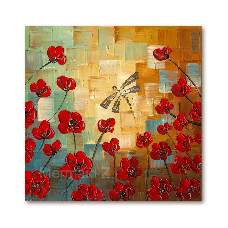 d43b64bc6 مرسومة باليد الحديثة ديكور المنزل جدار الفن صورة زهرة حمراء شجرة سميكة لوحة  سكين النفط الطلاء على قماش no الإطار