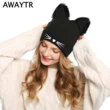 AWAYTR mujeres de punto orejas de gato Faux Mink sombreros Skullies Pompom  gorros 1679727d468