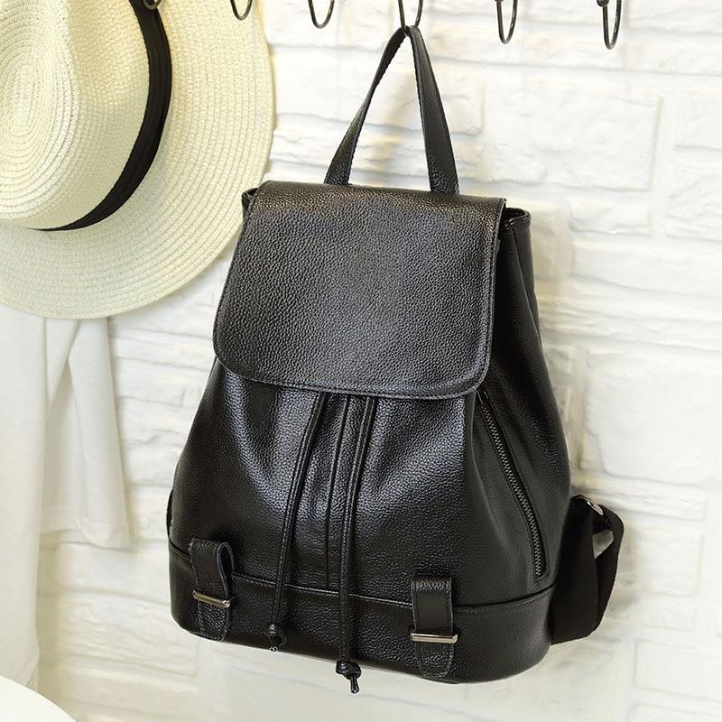 Leather shoulder bag new handmade backpack Korean influx of people solid shoulder bag
