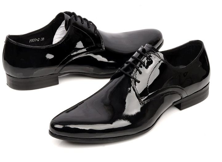 shiny black leather shoes