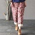 Pants Women Plus Size Winter Casual 2016 New elastic waist Harem pants floral print Vintage Style pants Full Length trousers