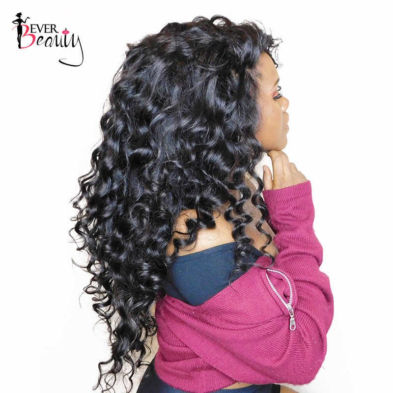 250% Density Lace Front Human Hair Wigs For Women Pre Plucked Hairline Loose Wave Peruvian Lace Front Wig Black Ever Beauty Remy