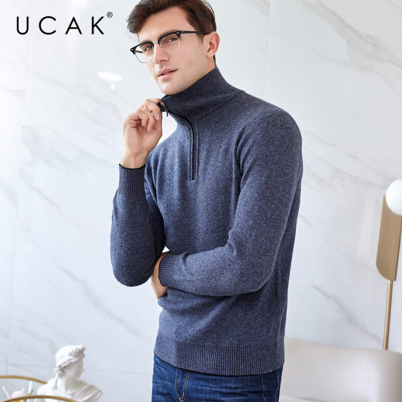 UCAK Brand Sweater Men 2019 New Winter Thick Warm Zipper Turtleneck Sweaters Merino Wool Pullover Men Cashmere Pull Homme U3018