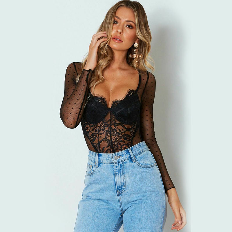 Women Lace Bodysuit Sexy Lingerie Perspective Body Underwear Long Sleeve See Through Summer Female Clothes Teddies Clothing New