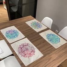 Mantel Vintage de Mandala de colores con diseño geométrico y decoración de flores para sala de estar y comedor, Mantel Individual a rayas con diseño de Mandala