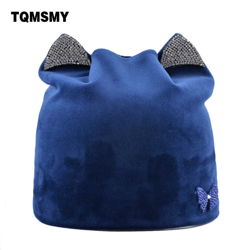cc7bb5dfffb Rhinestone butterfly hats for women winter beanies soft flannel fabric skullies  Ladies Cat bone casual gorros