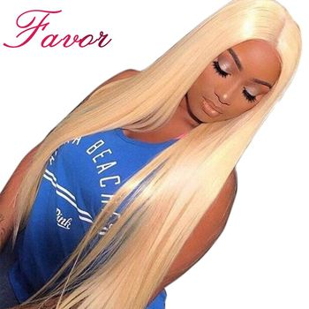 Silky Straight 613 Blonde Lace Front Human Hair Wigs 180% Density Brazilian Lace Front Remy Hair Wig Pre Plucked Favor Hair 8-24