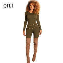 QILI Women Long Sleeve Bodycon Jumpsuits Office Lady Solid Color Skinny Pants Jumpsuit Fashion Casual 2019 Spring