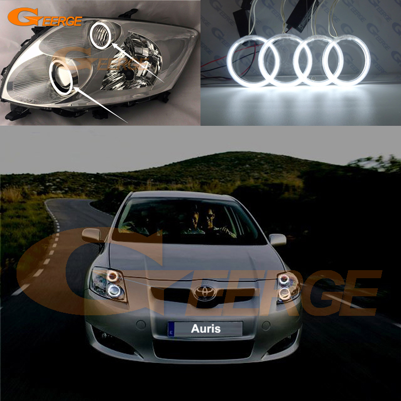все цены на For Toyota Auris 2007 2008 2009 Europe Excellent angel eyes Ultra bright illumination CCFL Angel Eyes kit Halo Ring онлайн