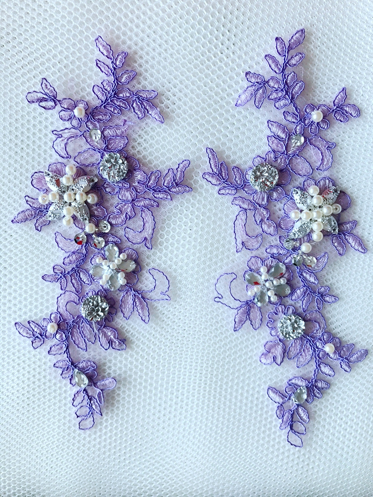 23*9cm sew on beaded rhinestones light Purple lace applique veil Manual DIY accessories 2pcs/bag