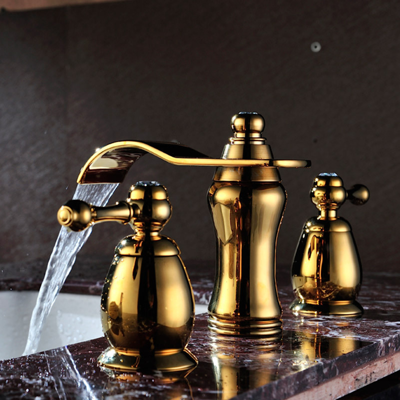 Waterfall basin faucet double handle three holes water tap bathroom faucets water tap sink faucet SD-T-001C glass waterfall faucet temperature sensor 3 color water tap mixer double handle basin faucets 3 pieces
