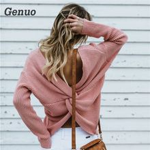 Genuo 2018 Autumn Winter Sweater Sweet Ladies Long Sleeve Pullovers Fall backless Women V Neck Casual Sweater Sweater Mujer Knit