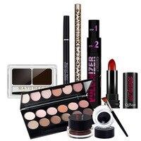 7 stks/set Makup Tool Kit Set Cosmetica Met Oogschaduw Palet Wenkbrauw Poeder Lippenstift Met Gift Pakket Goedkope-make-palet