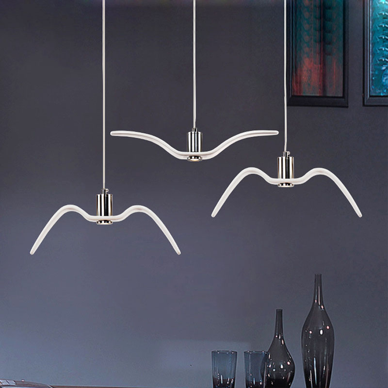 Blackwhite creative led pendant lights seagull pendant lamp bar blackwhite creative led pendant lights seagull pendant lamp bar dinning room suspension luminaire kitchen light fixtures in pendant lights from lights mozeypictures Images