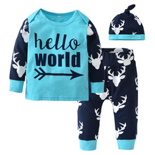 Christmas Baby Boys Girls Clothing Sets Infant Clothes Suits 3pcs Deer Printing Patchwork Cotton Long Sleeve Top+Pants+Hat