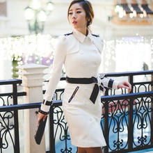 Black white women spring coat 2017 long coats belt England Double-breasted slim trench coats for women trench coat female 2XL