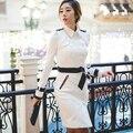 Cinturón negro blanco mujeres abrigo de primavera 2017 abrigos largos Inglaterra delgada Double-Breasted trench coats for women gabardina hembra 2XL