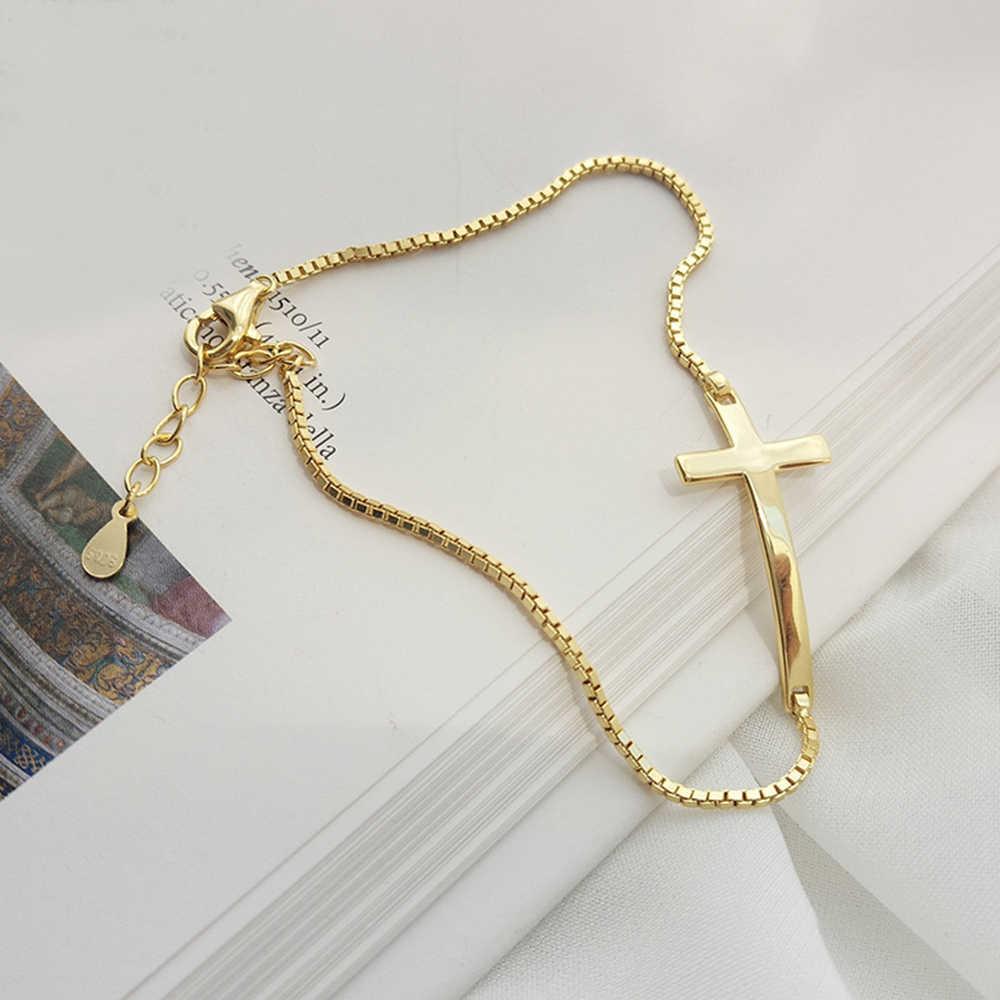 Leven Fantezi Minimalist 18 k Altın Kutu Zincir Kadınlar Bayanlar Kızlar Hıristiyan İsa Çapraz Charm Bilezik Gümüş 925 Güzel Takı