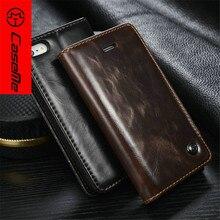 Caseme Марка Роскошь Бизнес Натуральная кожа флип чехол для iPhone 5 5S SE кошелек чехол для iPhone 7 6 6 S плюс кожаный чехол