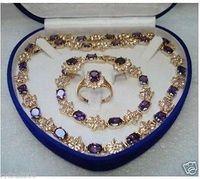 latest design Nobility Quartz crystal natural Beautiful purple zircon necklace bracelet earrings ring for women sterling silver