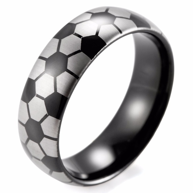 SHARDON 8mm Men's Dome Black Tungsten Carbide Soccer Ball design ring with white style lasering Wedding Ring for Men