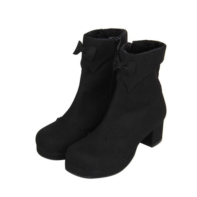 Lady Mentions Chaussures Moto Légales Mi Femmes Mori Bottes Courtes 47 Talons Pompes Flock Femme Angéliques Courte Peluche Fille Black Lolita Chaud Cheville 8wdX5q
