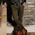2017 мода хлопок повседневная мужчины карандаш брюки Комбинезоны мужские мульти карманные случайные брюки тощие тонкие шаровары
