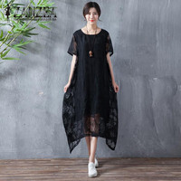 2018 ZANZEA Summer Lace Crochet Irregular Hem Women Crew Neck Short Sleeve Party Loose Midi Dress