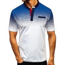 Aoliwen 2019 brand men 3D print polo shirt elasticity 95%cotton high quality Summer short sleeve casual shirts fro
