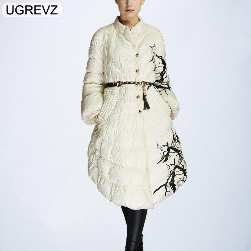 UGREVZ Cotton Coat Down Jacket For Women Fashion Designer Winter With White Duck Down Parka Long